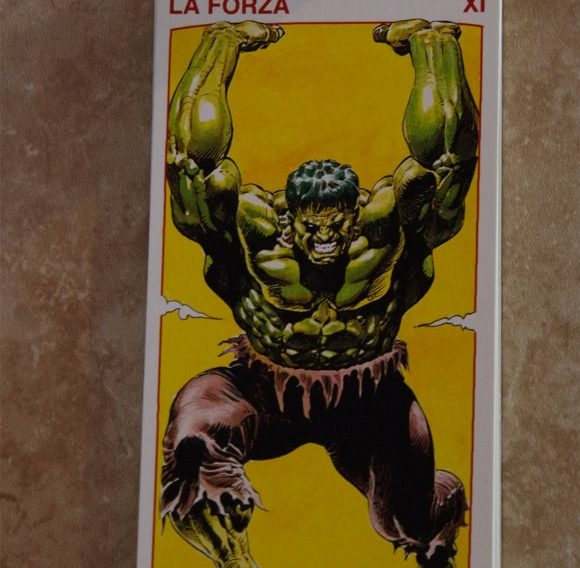 Hulk Strength card from the Tarocchi Marvel (Red)