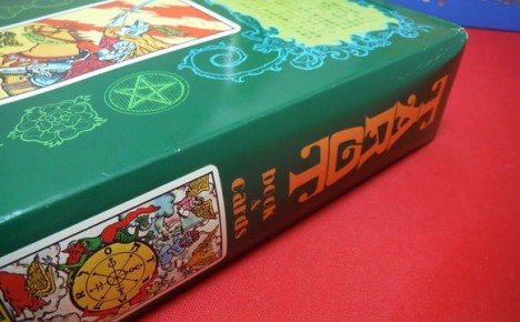 Spine of outer Waite-J.K. Tarot deck box