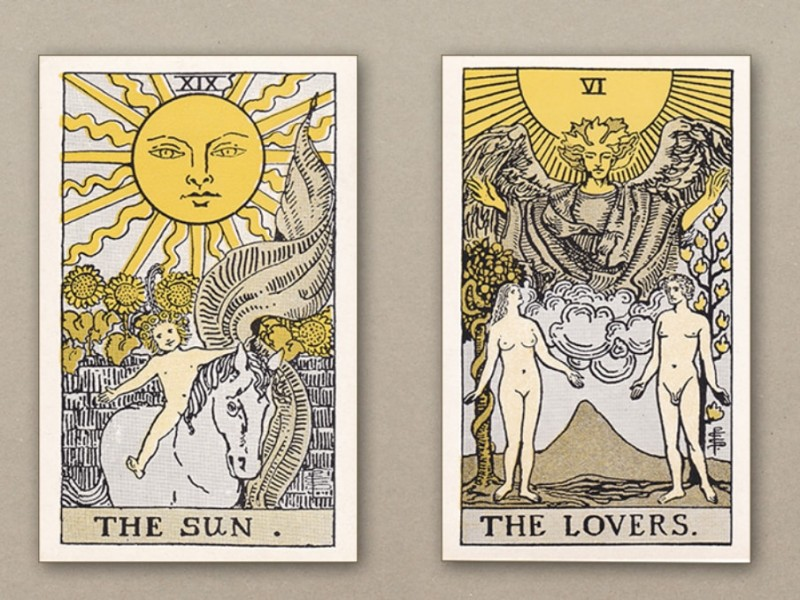 "de Laurence ""square yellow"" Sun and Lovers cards"