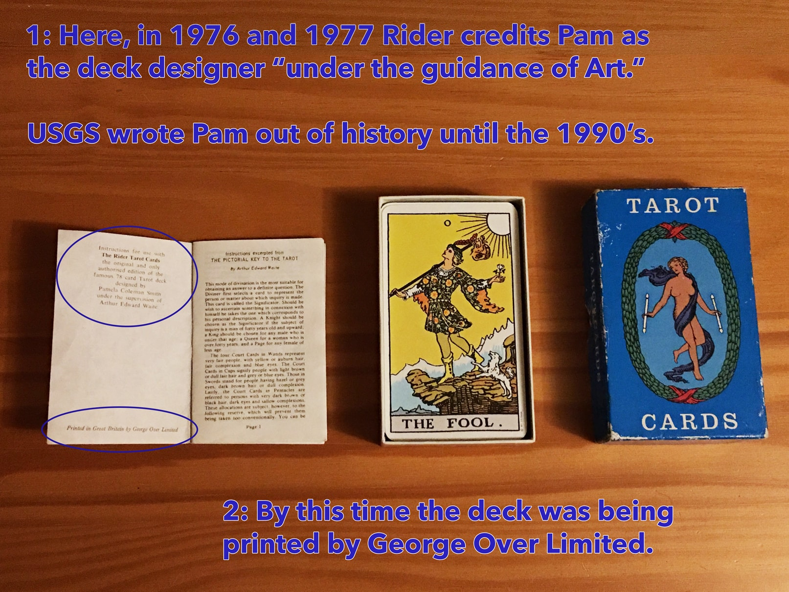 This is how you know when you have a 1976 or 1977 ``Blue (top lift) Box`` Rider tarot deck.
